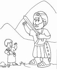 Amazing David And Goliath Coloring Pages 95 For Your Print With