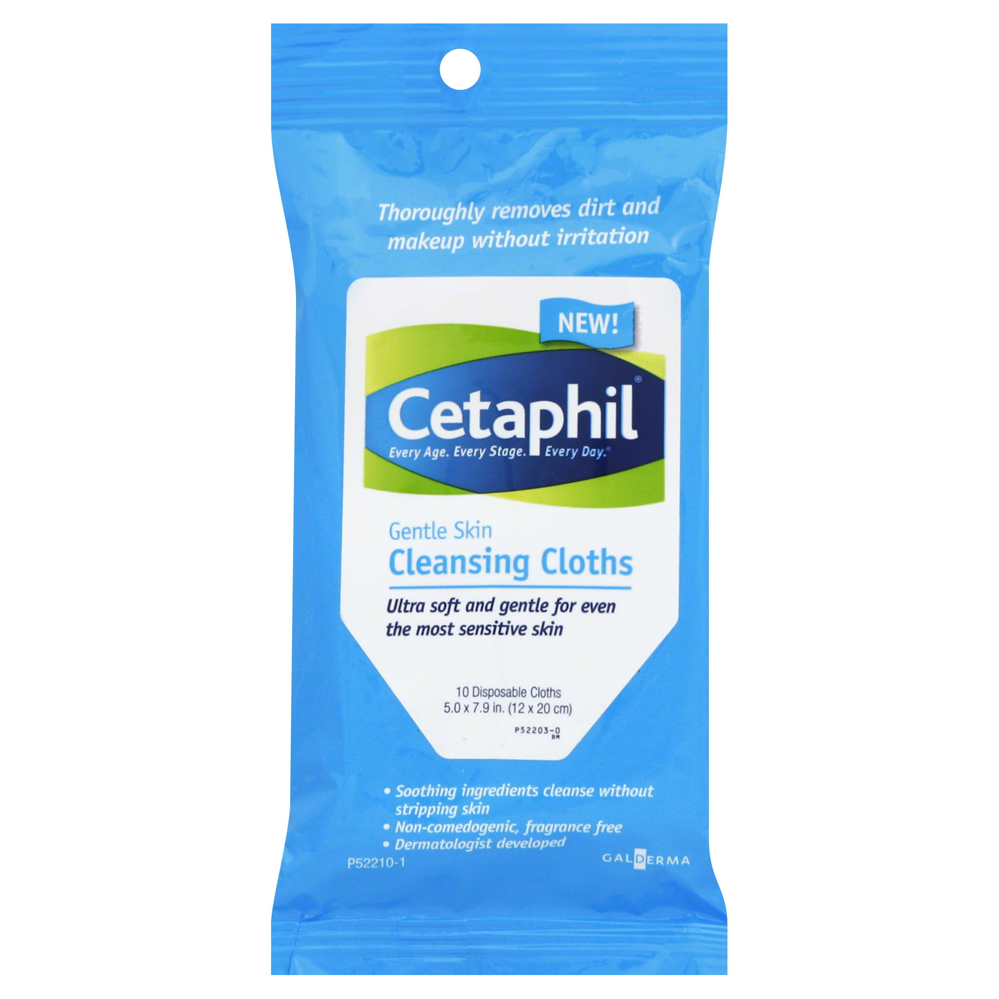 Cetaphil Gentle Skin Cleansing Cloths - 10 Disposable Cloths