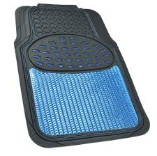 Metallic Rubber Floor Mats Blue For Car SUV Truck Black Trim To Fit ...