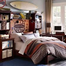 Bedroom Designs For Teenagers Boys Red White Rool Up Curtain Blue And Bedding Set Exposed Brick Wall Yellow Theme Boy Ideas