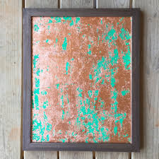 Copper Painting Leaf Green Wall Art By Naptimeacrylics