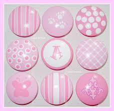 hand painted knob dresser drawer shades of pink polka dots stripes