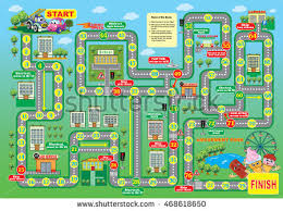 Vector Illustration Of Board Game For Children Auto Racing Reach The Finish Line First