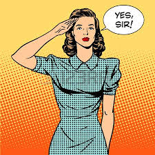 Woman Soldier Housewife Concept Of Feminism And Services The Salutes Says Yes Sir