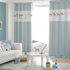 Baby Blue Animal Print Color Block Poly Cotton Blend Nursery Curtains