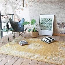 fraai teppich vintage gelb 160x220cm kurzflor antik vintage klassik orientalisch wohnzimmer esszimmer schlafzimmer