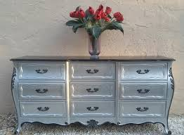 Antique John Widdicomb Dresser by French Provincial 9 Drawers Dresser And Two Nightstands Silver