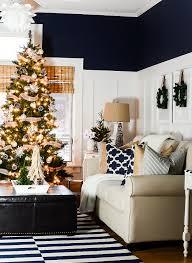 Christmas Decorating Ideas Neutral Burlap White Navy Rustic