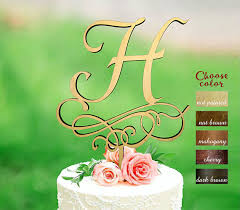 Letter H Cake Topper Rustic Initial