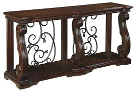 Traditional Dark Brown Norcastle Sofa Table by Signature Design By Ashley Alymere Traditional Sofa Table With 1