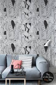 comic cacti wallpaper schwarz und weiß kaktus floral wand wandbild kinderzimmer detaillierte muster wieder verwendbar 141