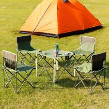 Outdoor Camp Portable Folding Table Chairs Set W/ Carrying Bag-Green