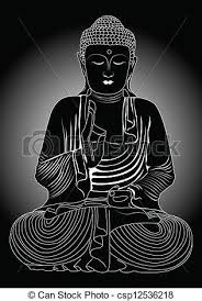 Buddha In Black And White Vector Clip Art