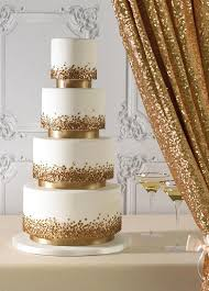 Gold Bling Layers Wedding Cakes 2016 Trends