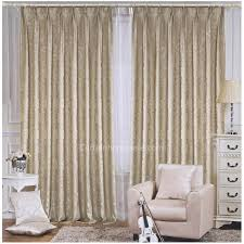 light beige floral jacquard living room thermal backed curtains