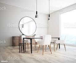 klassische esszimmer ecke runde spiegel stockfoto und mehr bilder boden