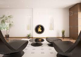 modernes interieur des wohnzimmers mit kamin 3d rendern