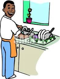 Royalty Free Clipart Image Black Man Washing Dishes