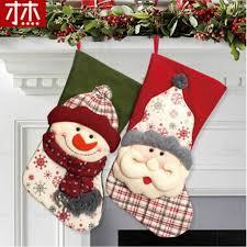 43X22Cm Christmas Stockings Enfeites De Natal Hand Making Crafts Children Candy Gift Bag Santa Elk