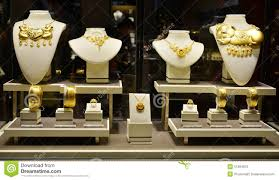 Closeup Of Gold Jewelry Shop Window