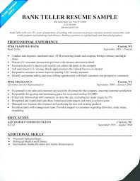 Bank Teller Resume Skills With No Experience
