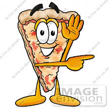 Clip Art Graphic of a Cheese Pizza Slice Cartoon Character Waving and Pointing to