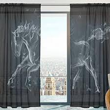 fenster vorhänge gardinen pferd modern voile platten tüll gardinen 213 cm lang für wohnzimmer schlafzimmer fenster decor set 2
