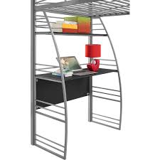 Twin Metal Canopy Bed Pewter With Curtains by Dorel Dhp Studio Twin Metal Loft Bed With Desk And Shelves Silver