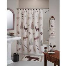 Axondirect Deer Bear Trees Rustic Lodge Cabin Style Shower Curtain In Polyester Fabirc