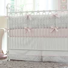 Pink and Gray Damask Crib Bumper
