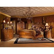 AICO Michael Amini 4pc Cortina Queen Size Sleigh Bedroom Set in