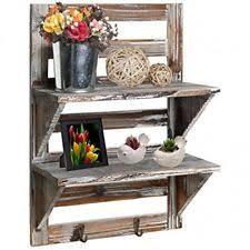 MyGift Rustic Wood Wall Mounted Organizer Shelves W 2 Hooks 2Tier Storage