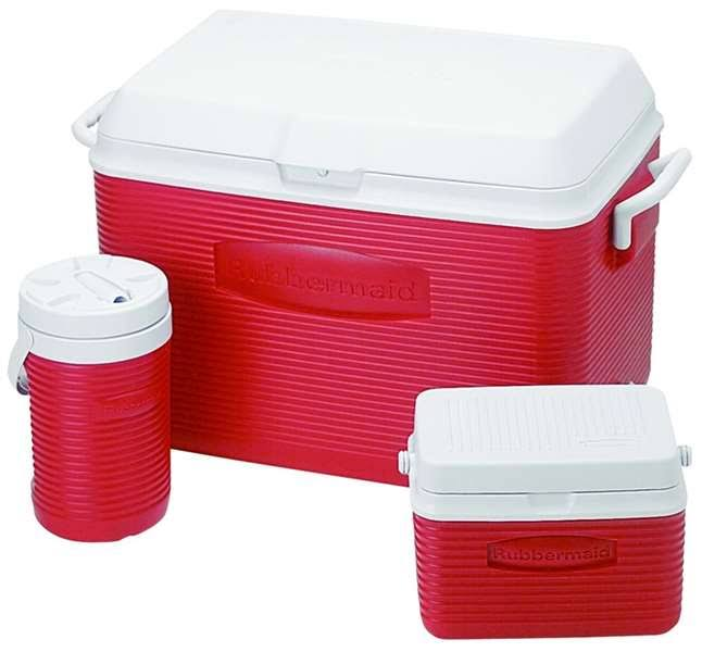 Rubbermaid 1946229 Home Ice Chest Combo - Red, 3ct