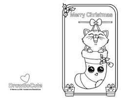 Coloring Page Of Christmas Card With Kitten In Stockings