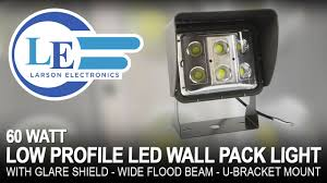 60 watt low profile led wall pack light with glare shield wide