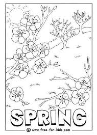 Coloring Page Of A Tree Budding And Blossoming