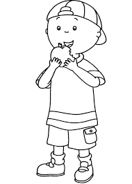 Caillou Coloring Pages Eating Apple