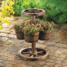 Image Is Loading PLANTERS WAGONWHEEL Amp BASKET WESTERN STYLE RUSTIC OUTDOOR
