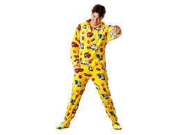 Yellow Chenille Fire Truck Adult Footed Pajamas Onesie | PJ'S For ...
