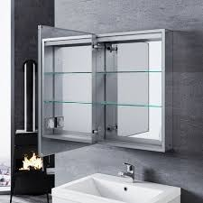 sonni aluminium spiegelschrank mit led beleuchtung 50x70cm mit touch steckdose und beschlagfrei