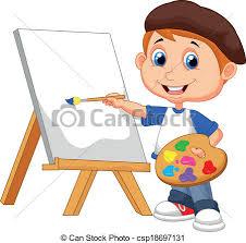 Vector illustration of cartoon boy painting vectors Search Clip