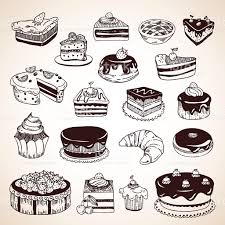 Vintage hand drawn pastry cakes donuts pies croissant royalty free vintage