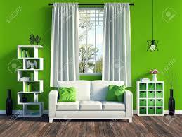 modernes grünes wohnzimmer interieur mit weißem sofa und möbel und alten holzböden 3d rendering