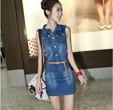 Thin Belt Collar Two Pockets Sleeveless Mini Length Sheath Korean Women Dresses Online Medium