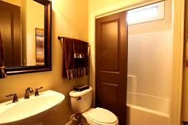 Gray And Yellow Bathroom Decor Ideas by Bathroom Heavenly Warm And Serene Wooden Bathroom Designs Brown