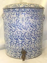 Old Antique Blue & White Spongeware Stoneware 5 Gallon Water
