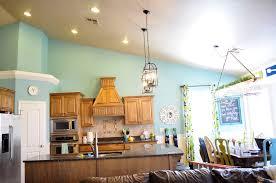 interior blue pale kitchen cabinet wooden countertop white