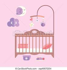 Bedroom Clipart by Clipart Vector Of Vector Flat Baby Bed Infant Bedroom With Mobile