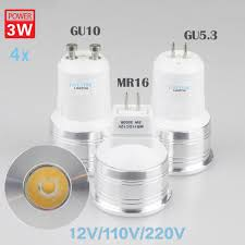 4x mr11 led spot light bulb warm white 3w 12v 35mm diameter mini