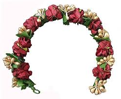 Hair Gajra Artificial Flowers Accessories Maroon Or Golden Combination